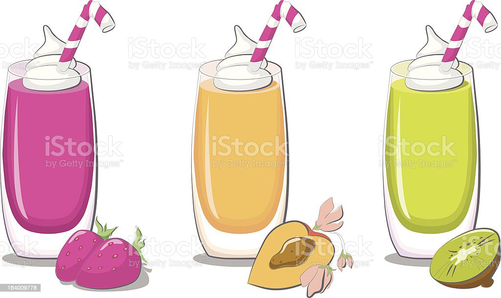 Healthy fruit smoothies (strawberry, peach, kiwi) royalty-free healthy fruit smoothies stock vector art & more images of breakfast