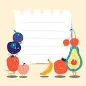 Paper note for copyspace with funny fruits vector