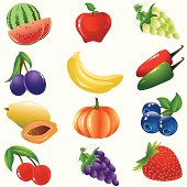 Self illustrated Healthy Fruits And Vegetable Icon Set.Please see some similar pictures from my portfolio: