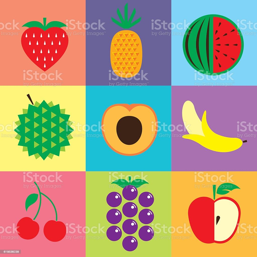 healthy fruits vector art illustration
