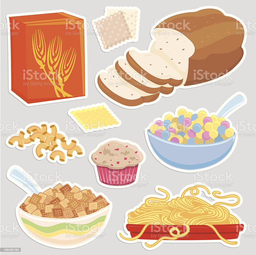 Healthy Grain food icons vector art illustration
