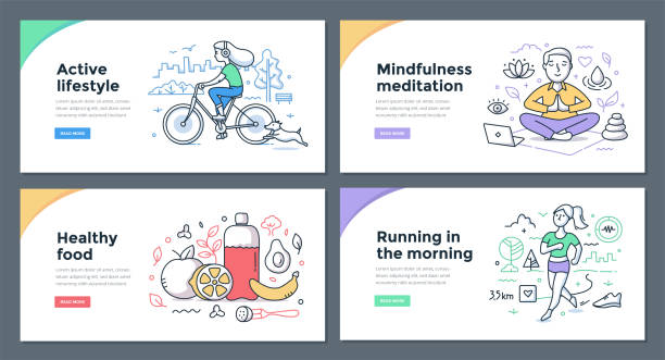 healthy habits color doodles - mindfulness stock illustrations