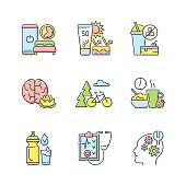 Healthy habits development RGB color icons set. Sleep hygiene. Skin protection. No added sugar. Practice mindfulness. Outdoor activity. Healthy breakfast. Drink water. Isolated vector illustrations