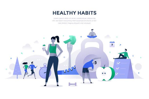 zdrowe nawyki flat concept - wellness stock illustrations