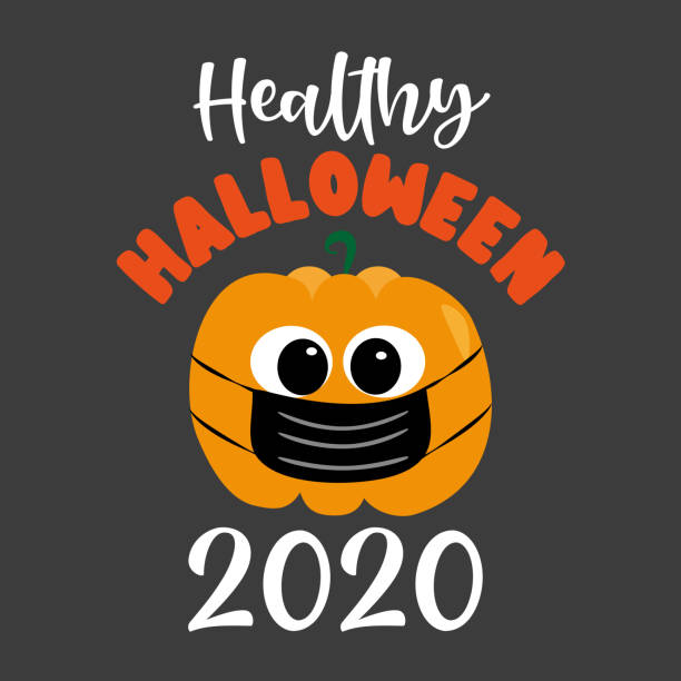 Healthy Halloween 2020- cute pumpkin in facemask Healthy Halloween 2020- cute pumpkin in facemask. Funny greeting card for Halloween in covid-19 pandemic self isolated period. halloween covid stock illustrations