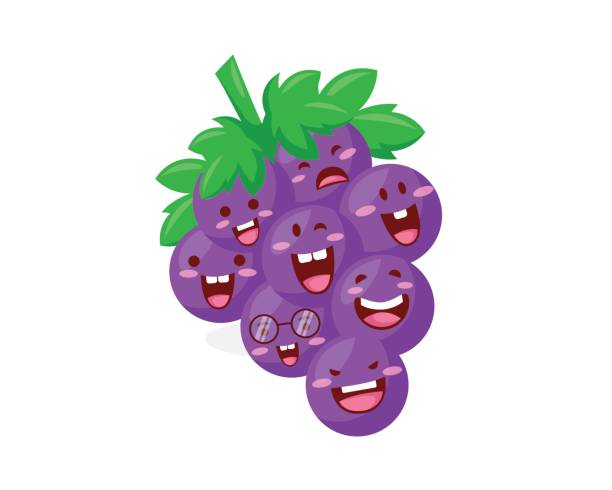 Healthy Happy Organic Grape Fruit Character Illustration Healthy Happy Organic Grape Fruit Character Illustration, Suitable for Diagrams, Infographics, Illustration, And Other Graphic Related Assets black currant stock illustrations