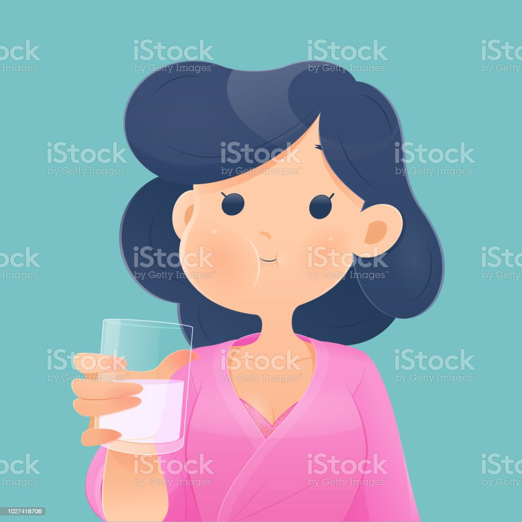 Healthy happy woman rinsing and gargling while using mouthwash from a glass. During daily oral hygiene routine. Dental Health Concept, Vector and illustration vector art illustration