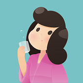Healthy happy woman rinsing and gargling while using mouthwash from a glass. During daily oral hygiene routine. Dental Health Concept, Vector and illustration