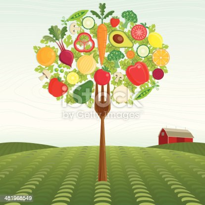 A Fork Tree made of Vegetables and Fruit stands on a Framers Field.