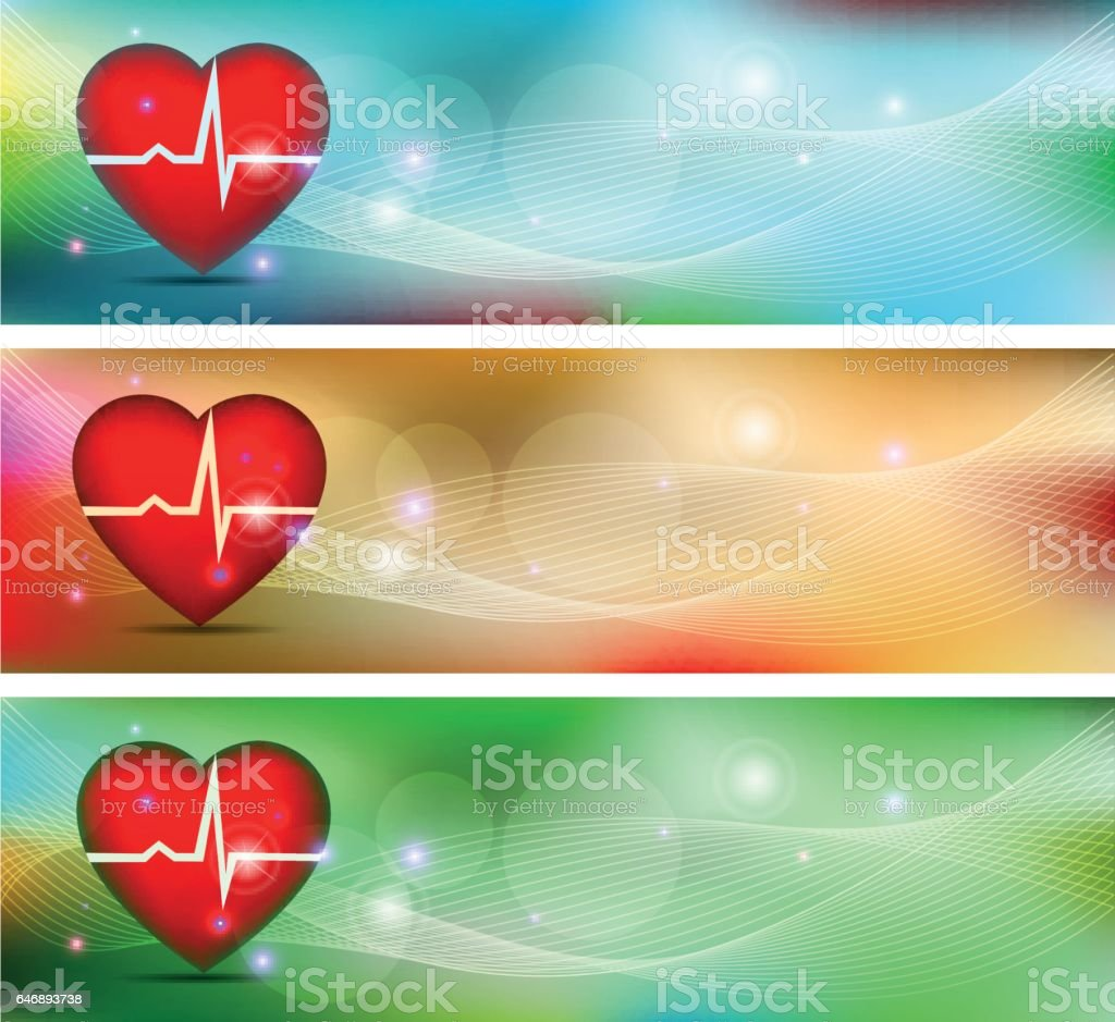 Human heart health care banners. Beautiful bright designs.