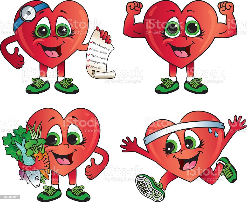 Healthy Heart Cartoon Icons Stock Illustration - Download ...