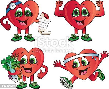 healthy heart cartoon icons stock vector art   more images Human Heart Drawing Human Heart Drawing