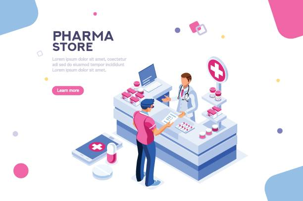 Healthy Infographic Isometric Vector Patient and pharmacist doctor infographic, healthy recipe element, medicament for aid, professional medication. Computer and pills banner. Images of client at shop. Flat isometric Vector illustration. pharmaceutical industry stock illustrations