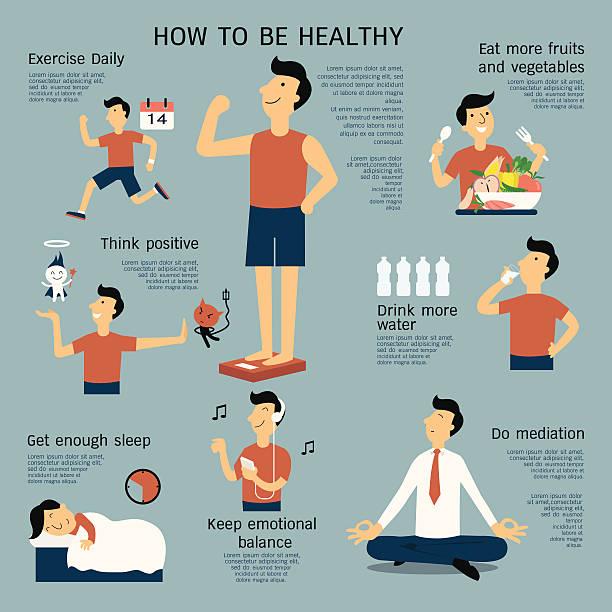 Healthy infographics vector art illustration