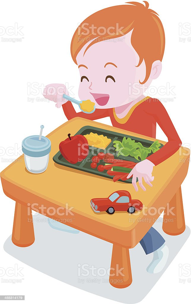 healthy kids meal vector art illustration