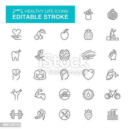 Fitness & Workout, Gym, Heart Shape, Healthy Lifestyle, Editable Stroke Icon Set