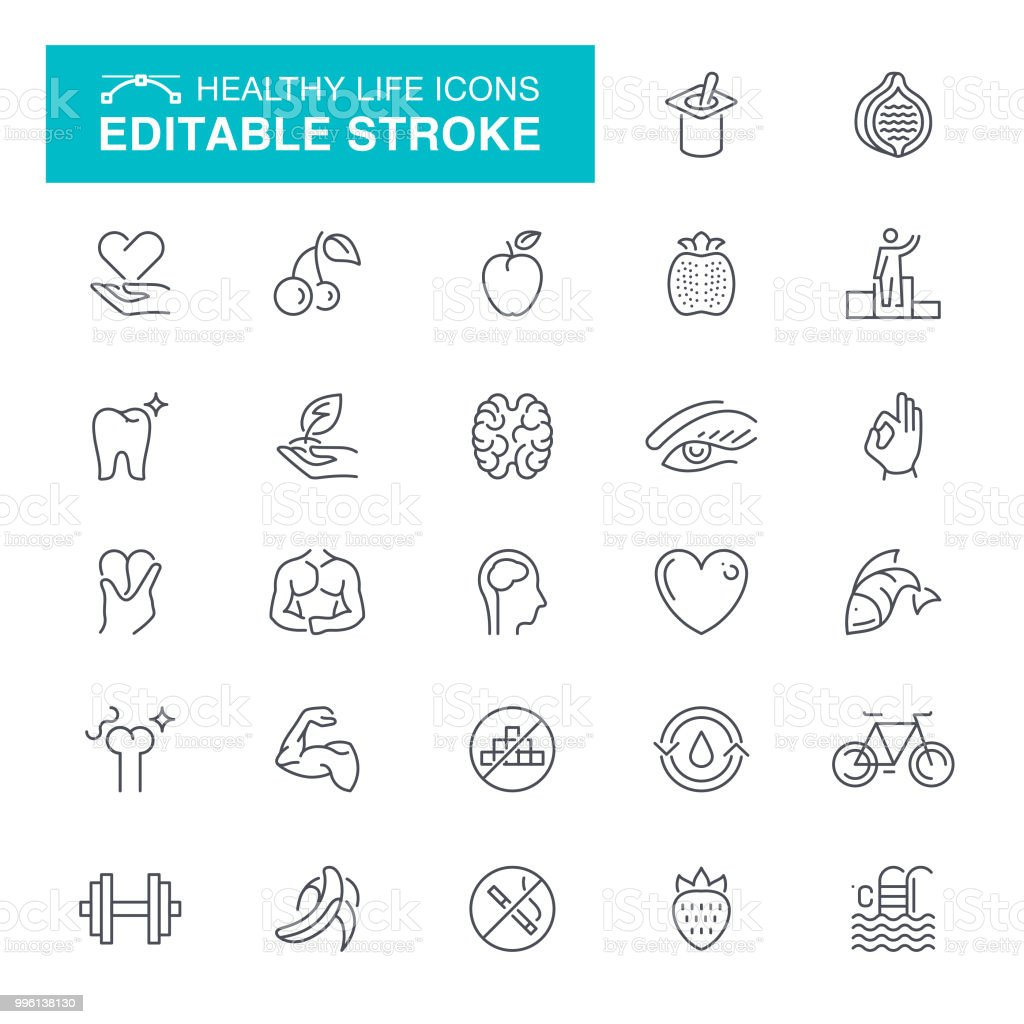 Iconos de movimiento editables de vida sana - ilustración de arte vectorial