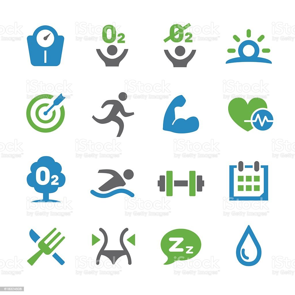 Healthy Life Icons Set - Spry Series vector art illustration
