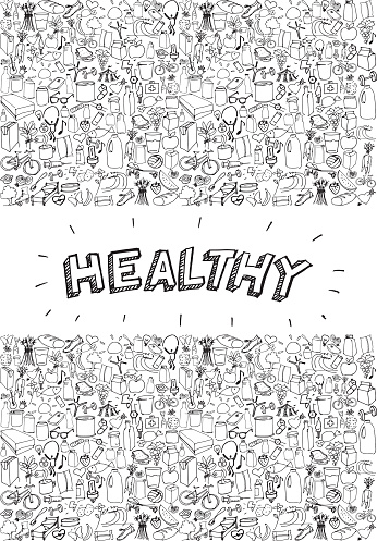 Poster with doodles about healthy life.