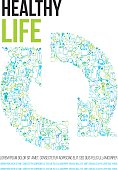 Poster with two arrows meaning recharge with doodles about healthy life and ecology.