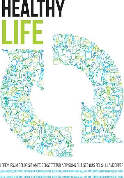 bildbanksillustrationer, clip art samt tecknat material och ikoner med healthy life poster - recycling heart