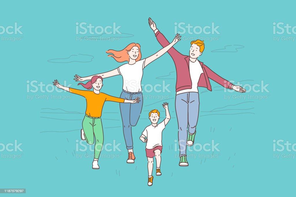 Healthy lifestyle, active recreation concept - Grafika wektorowa royalty-free (Aktywny tryb życia)