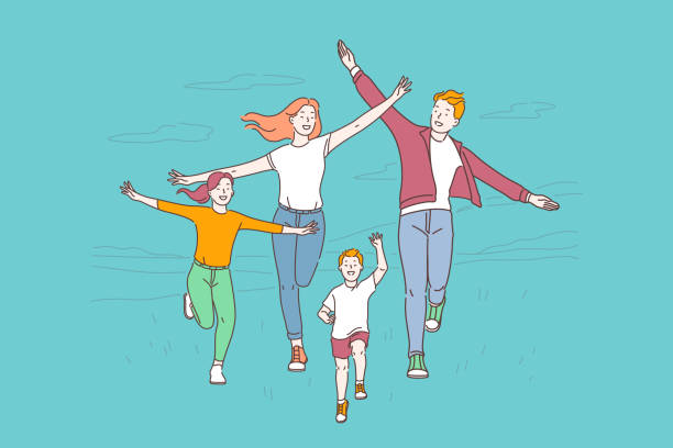healthy lifestyle, active recreation concept - happy holidays stock illustrations
