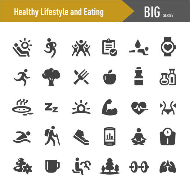 healthy lifestyle and eating icons - big series - talia tułów stock illustrations