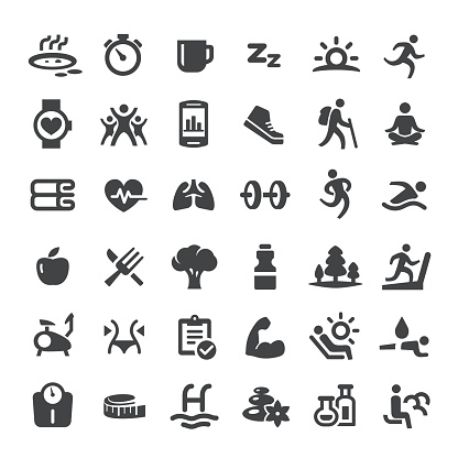 Healthy Lifestyle and Eating Icons - Big Series