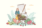 Healthy lifestyle and nutrition food concept. Young smiling woman cartoon character carrying fresh healthy vegan ingredients in shopping trolley bag in supermarket for eating balanced meals