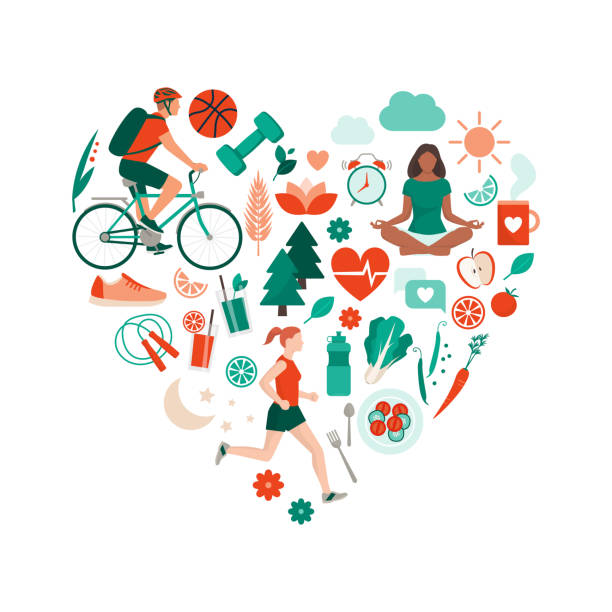 Healthy lifestyle and self-care concept Healthy lifestyle and self-care concept with food, sports and nature icons arranged in a heart shape wellbeing stock illustrations