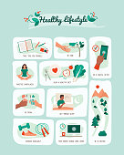 Healthy lifestyle and self care vector infographic with tips for a balanced healthy living