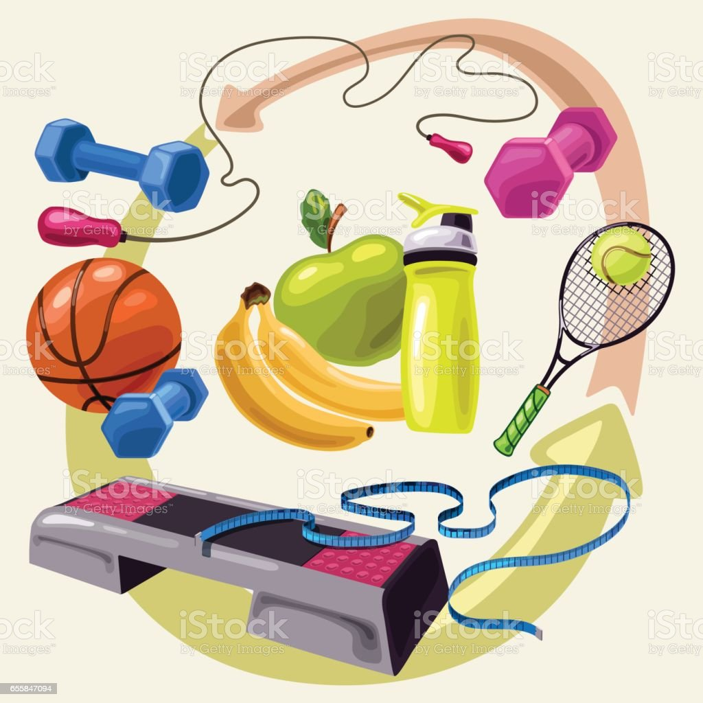 Healthy lifestyle and sport vector art illustration