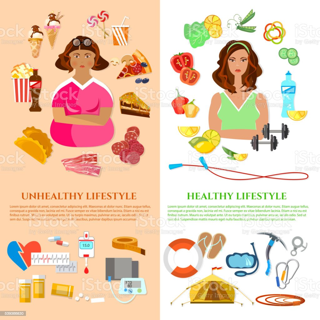 healthy lifestyle and unhealthy lifestyle banner obesity problem stock vector art more images. Black Bedroom Furniture Sets. Home Design Ideas