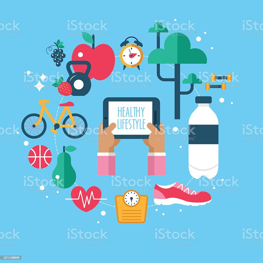 Healthy lifestyle app concept with flat modern icons vector art illustration