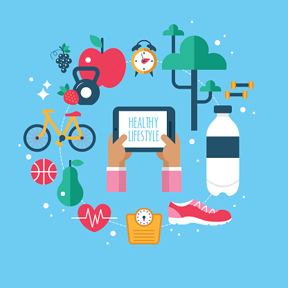 Healthy lifestyle stock illustrations