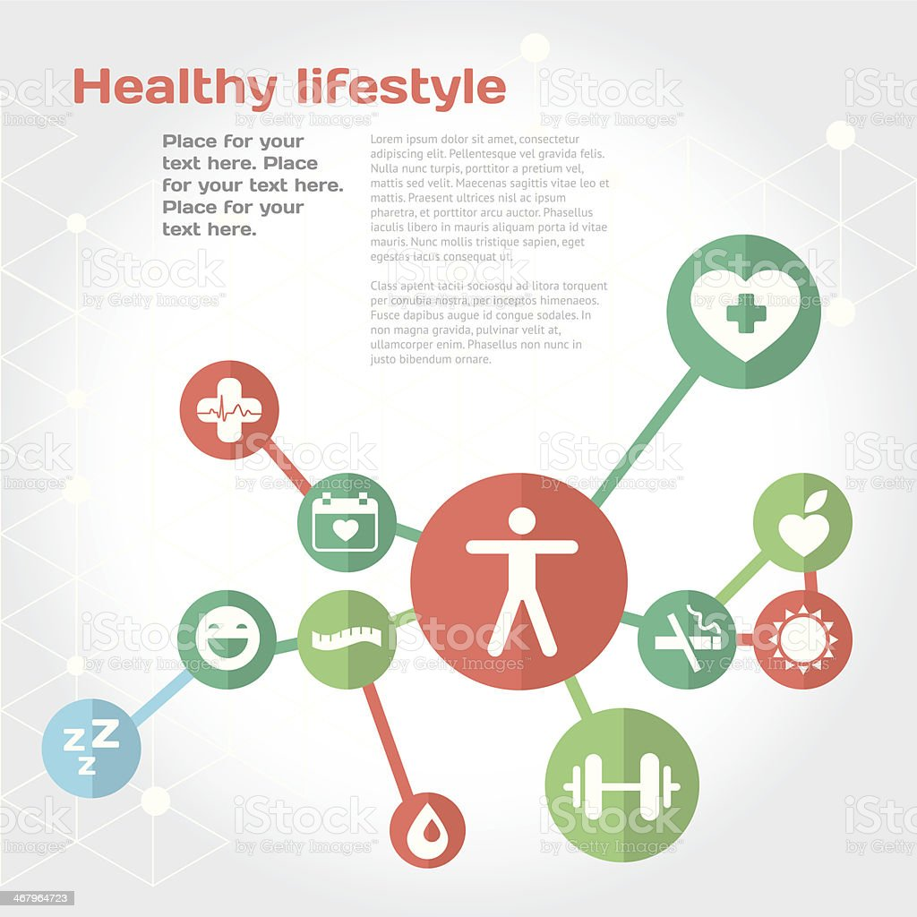 Healthy lifestyle background with flat icon set vector art illustration