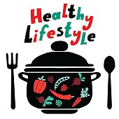 Healthy lifestyle background with pan