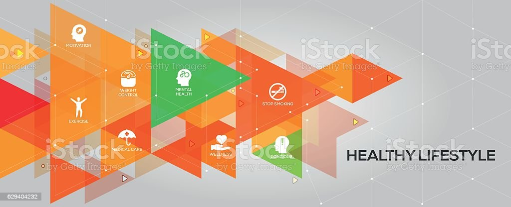 Healthy Lifestyle banner and icons - ilustração de arte em vetor