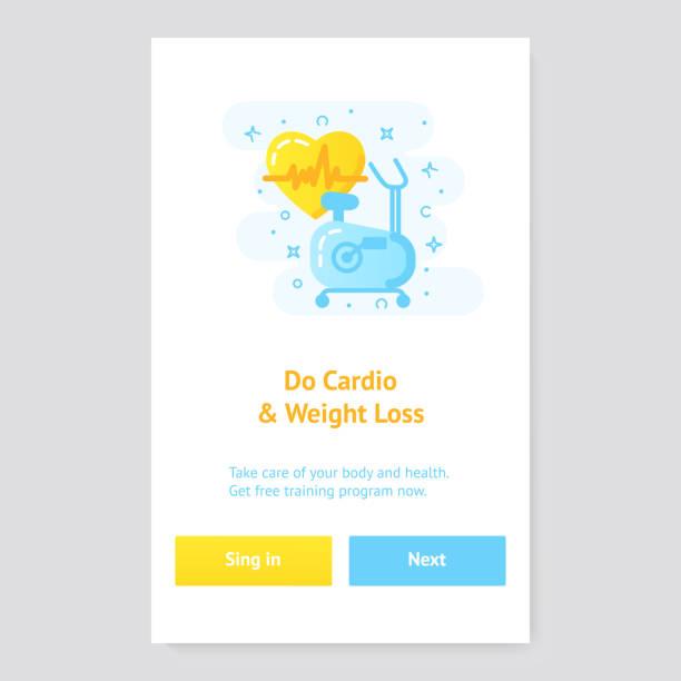 stockillustraties, clipart, cartoons en iconen met gezonde levensstijl banner concept met hometrainer - call center
