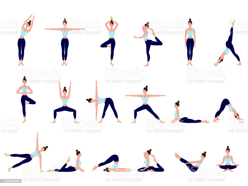 Healthy Lifestyle Collection Of Female Cartoon Characters Demonstrating Various Yoga Positions Woman Figures Exercise In Blue Sportswear And Black Yoga Pants Stock Illustration Download Image Now Istock