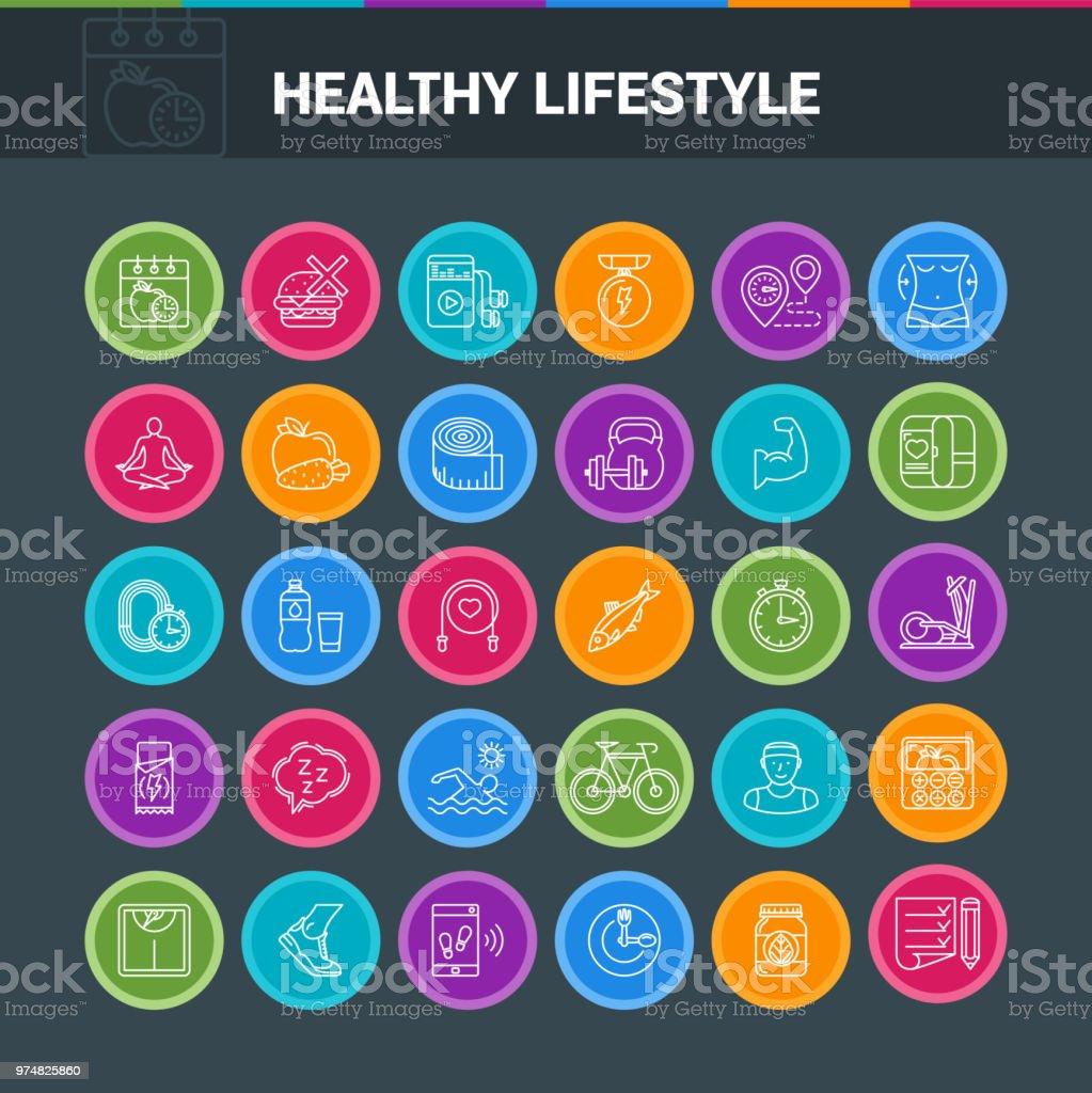 Iconos de colores de estilo de vida saludable - ilustración de arte vectorial
