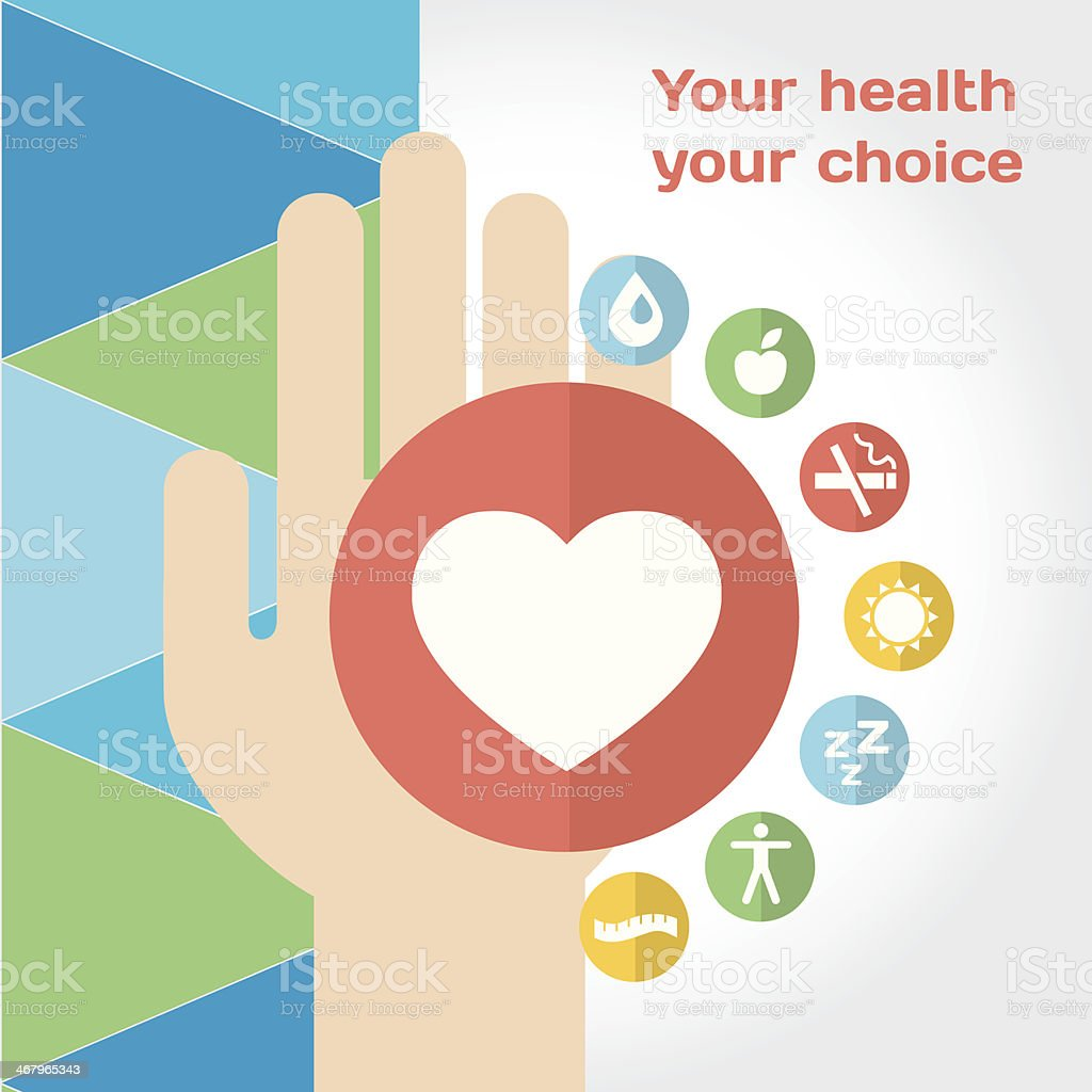 Healthy lifestyle composition with hand and flat icon set royalty-free healthy lifestyle composition with hand and flat icon set stock vector art & more images of ambulance
