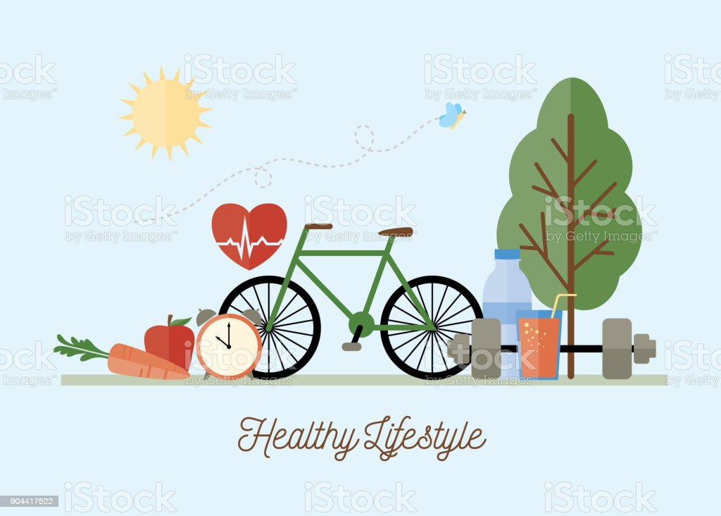 Healthy Lifestyle Concept Illustration royalty-free healthy lifestyle concept illustration stock illustration - download image now