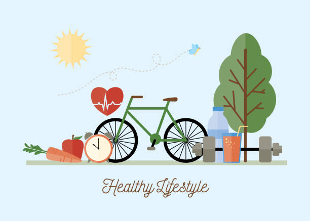 healthy lifestyle concept illustration - health stock illustrations