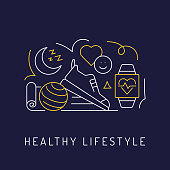 Healthy Lifestyle Concept, Modern Line Art Icons Background. Linear Style Vector Illustration.