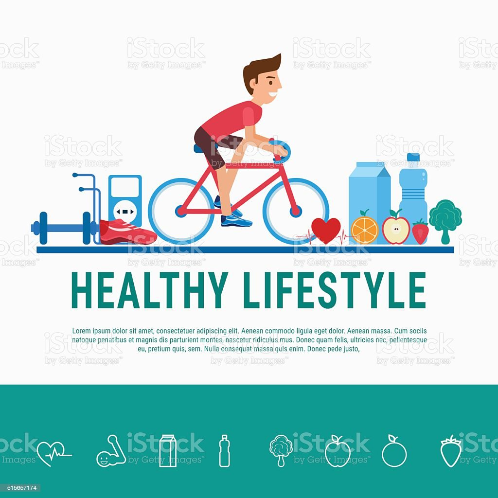 Healthy lifestyle concept. Proper nutrition, healthy food and sports equipment. vector art illustration