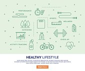 Line vector illustration of healthy lifestyle services. Banner/Header Icons.