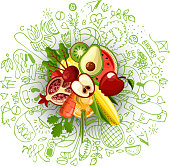 Healthy lifestyle concept with sport and healthy diet doodles and icons - sport, food, happy and normal sleep icons around fresh, juicy fruits on white background. Healty diet and sport concept.
