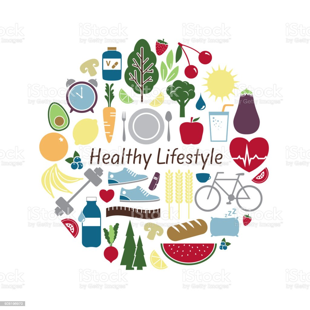 Healthy Lifestyle Concept With Vector Symbols Illustrating Wellness